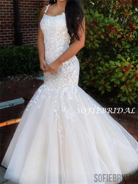 Mermaid Straps Appliques Lace-up Back Long Tulle Prom Dresses, PD1055