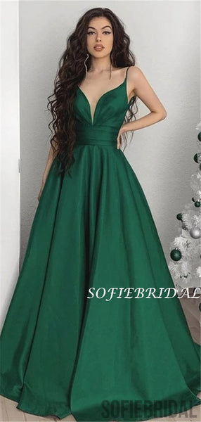 A-line V-neck Spaghetti Straps Long Green Prom Dresses, PD1056