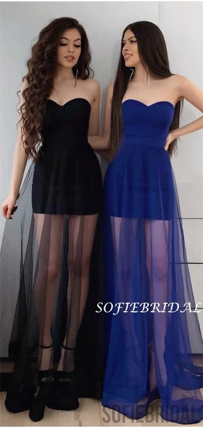 Sweetheart Floor-length Simple See-though Long Prom Dresses, PD1057