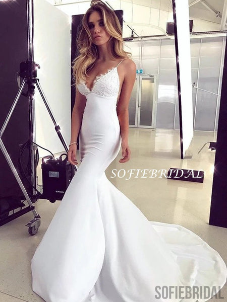 Popular Mermaid V-neck Lace Backless Light Ivory Long Prom Dresses, PD1058