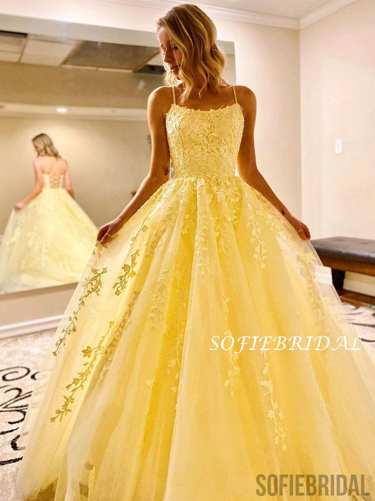 A-line Straps Appliques Yellow Lace-up Back Long Prom Dresses, PD1060