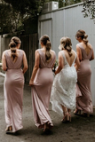 Sheath V-neck Sleeveless Floor-length Long Simple Bridesmaid Dresses, BD1076
