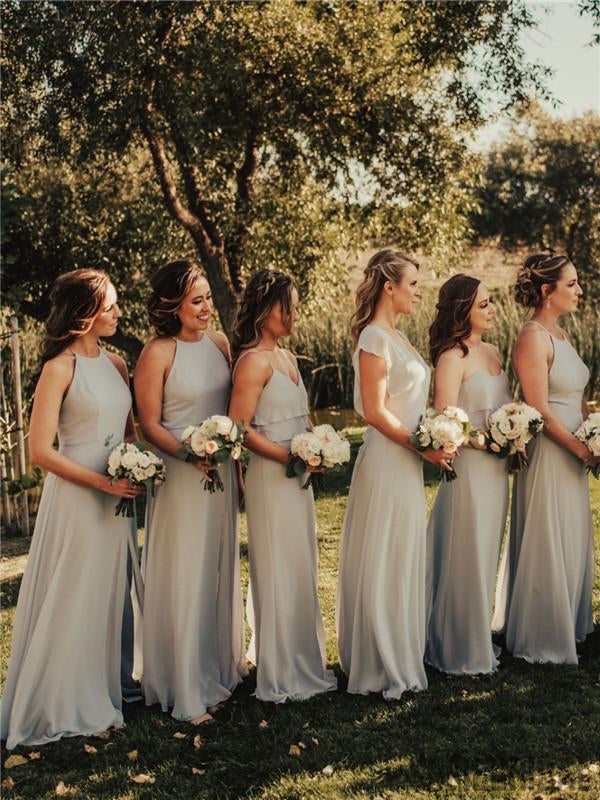 A-line Halter Sleeveless Long Chiffon Bridesmaid Dresses With Reffules, BD1079