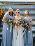 A-line Floor-length Halter V-neck Chiffon Bridesmaid Dresses With Reffules, BD1080