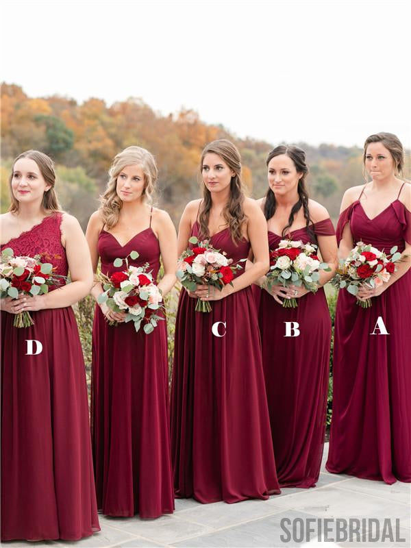 Newest V-neck Straps Off-shoulder Long Lace Chiffon Bridesmaid Dresses, BD1081