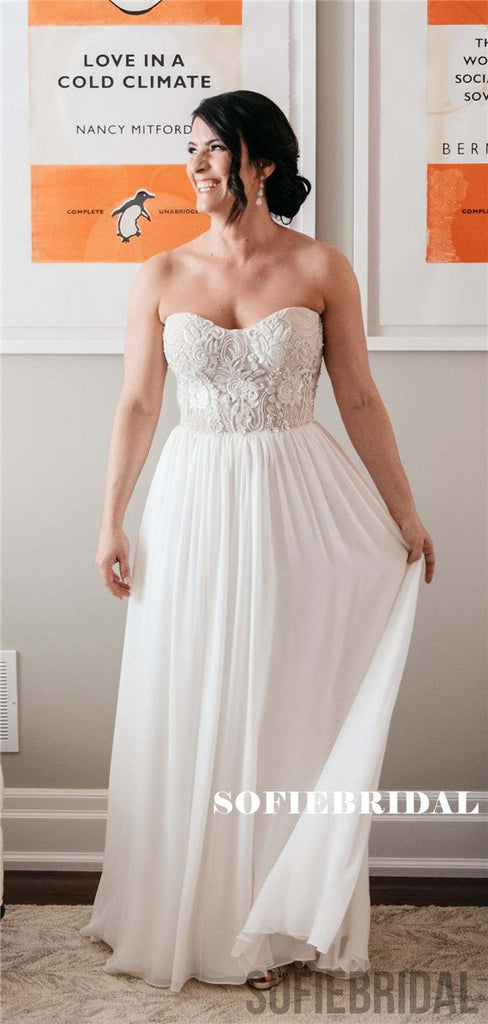 Strapless Sweetheart Floor-length Appliques Long Chiffon Wedding Dresses, WD0483