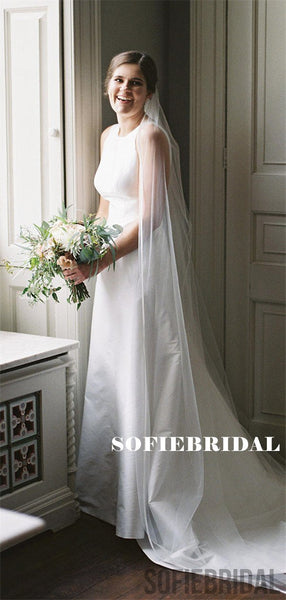 A-line Round Neck Sleeveless Simple Long Wedding Dresses With Train, WD0486