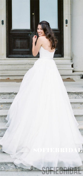 A-line Sweetheart Strapless Appliques Wedding Dresses With Train, WD0487