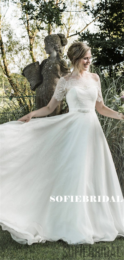 A-line Off-shoulder Short Sleeves Lace Top Long Wedding Dresses, WD0489