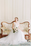 A-line Round Neck Cap Sleeves Lace Appliques Long Wedding Dresses, WD0490