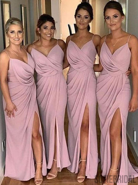Sheath Spaghetti Strps V-neck Long Split Bridesmaid Dresses With Pleats, BD1086