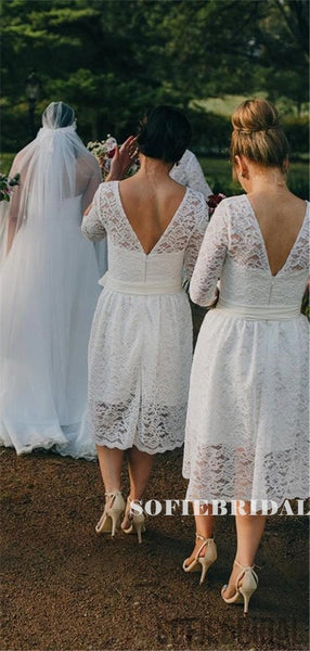 A-line Round Neck Half Sleeves Backless Lace Short Bridesmaid Dresses, BD1089
