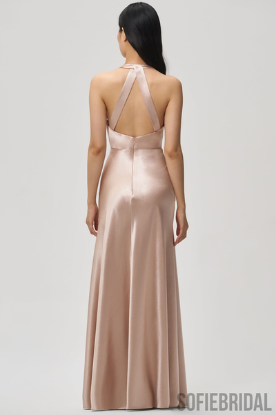 Floor-length Sheath V-neck Sleeveless Bridesmaid Dresses With Split, BD1092