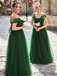A-line Off-shoulder Long Simple Green Tulle Bridesmaid Dresses, BD1093
