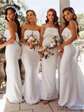 Mermaid Strapless Long Simple Off-White Bridesmaid Dresses WIht Train, BD1094