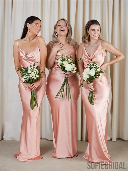 Sheath Spahetti Straps Long Simple Bridesmaid Dresses With Train, BD1095
