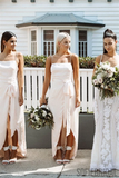 Sheath Spaghetti Straps Backless Long Bridesmaid Dresses With Split, BD1096