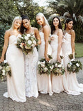 Mermaid Sweetheart Long Satin Bridesmaid Dresses With Bow, BD1097