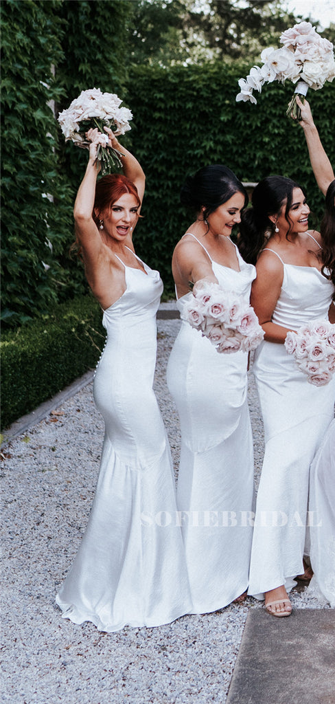 Mermaid Spaghetti Straps V-neck Long Backless Bridesmaid Dresses, BD1102