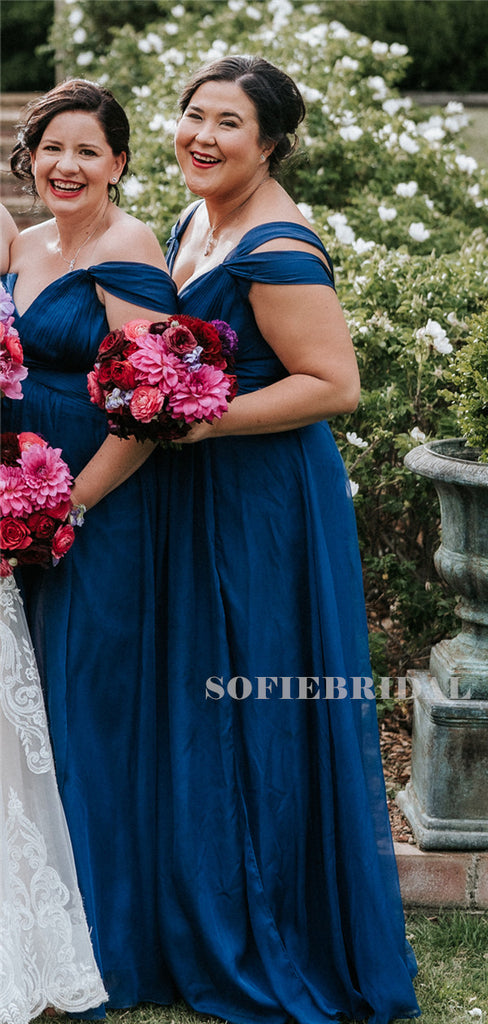 A-line Off-shoulder Floor-length Long Tulle Bridesmaid Dresses, BD1104