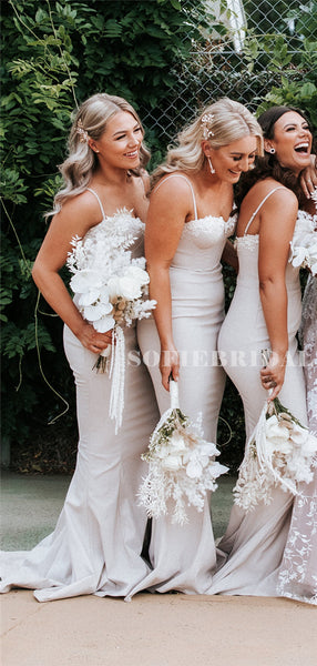 Mermaid Sweetheart Straps Lace Appliques Long Bridesmaid Dresses, BD1105