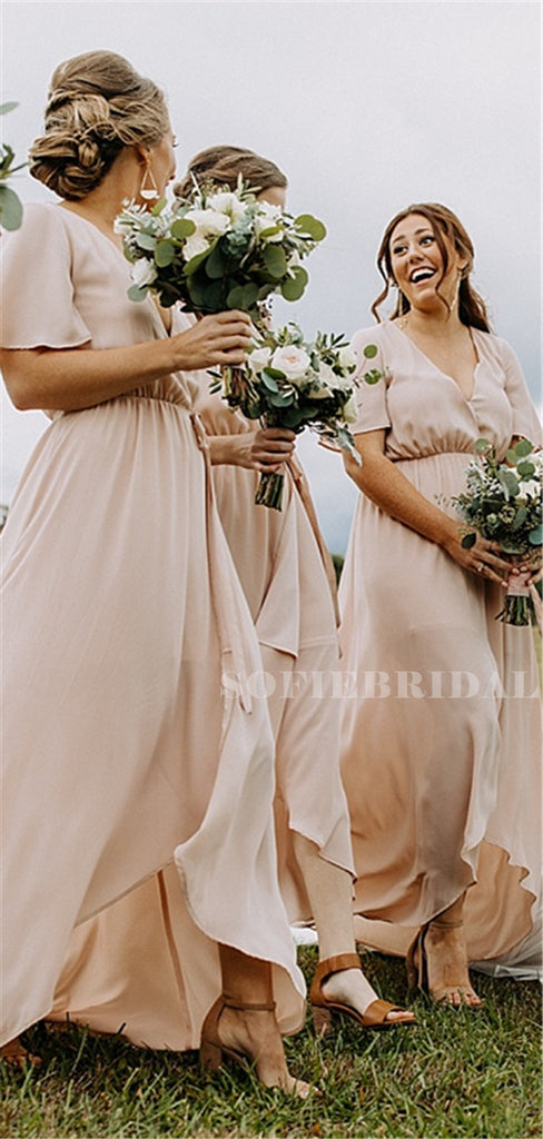 Sheath V-neck Short Sleeves Long  Bridesmaid Dresses With Slit, BD1113