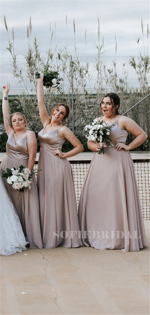 A-line Floor-length Spaghetti Straps V-neck Long Chiffon Bridesmaid Dresses, BD1115