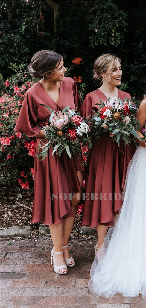 A-line V-neck Half-sleeves Knee-length Bridesmaid Dresses, BD1117