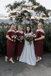 Sheath Off-shoulder Straps Ankle-length Burgundy Bridesmaid Dresses, BD1118
