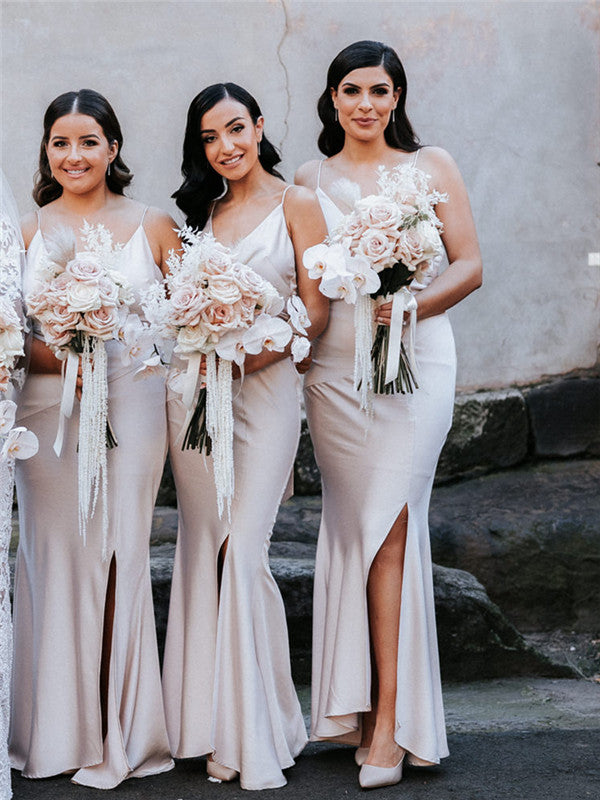 Mermaid Spaghetti Straps V-neck Long Bridesmaid Dresses With Slit, BD1119