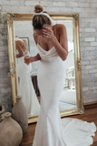 Sheath Spaghetti Straps Lace-up Back Wedding Dresses With Train, WD0492