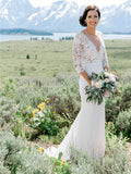 Sheath V-neck 3/4 Sleeveless Lace Top Wedding Dresses With Train, WD0497