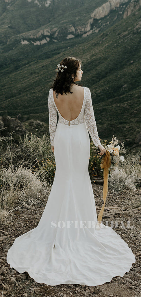 Mermaid Beteau-neck Long Sleeves Backless Long Wedding Dresses, WD0499