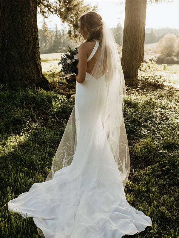 Mermaid Round-neck Sleeveless Backless Simple Wedding Dresses, WD0500
