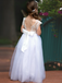 A-line Round Neck Cap Sleeves Lace Backless Flower Girl Dresses, FG0114