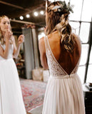 V-neck Lace Chiffon Long A-line Simple Country Wedding Dresses, WD0299