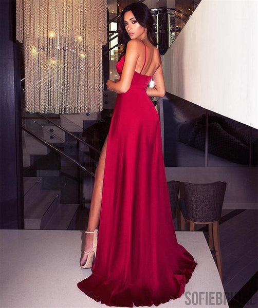 Simple Design Red Prom Dresses, Sexy Side Slit Prom Dresses, Popular Prom Dresses, Prom Dresses, PD0394