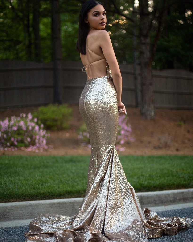 Mismatched Gold Sequin Mermaid Sexy Prom/Bridesmaid Dresses, PD0889