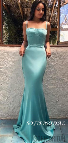 Sheath Spaghetti Straps Long Simple Cheap Prom Dresses, PD1007