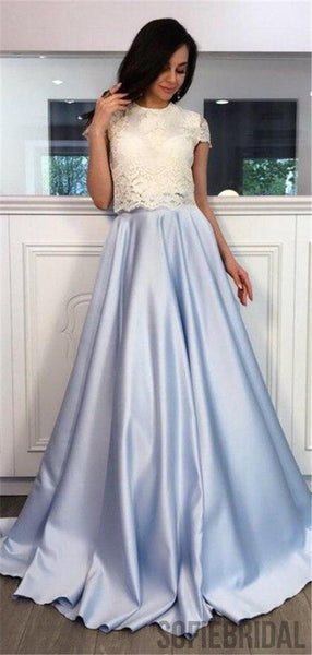 A-line Two-pieces Lace Top Short Sleeves Long Prom Dresses, PD0083