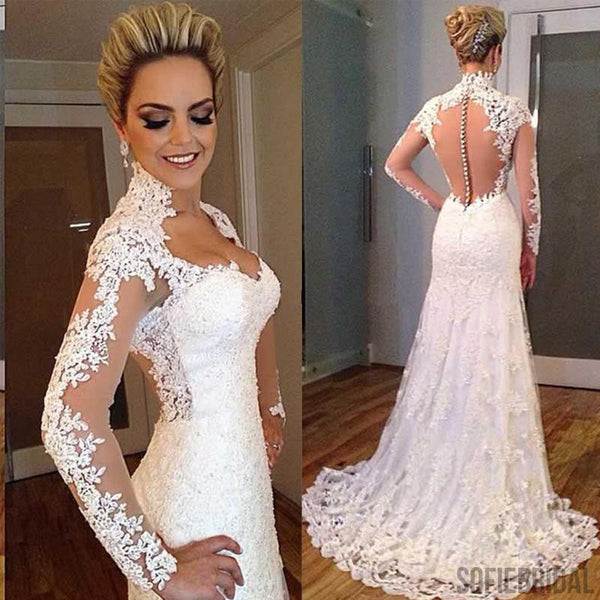 Gorgeous Long Sleeve Elegant Long See Through Lace Tulle Wedding Dresses, WD0093