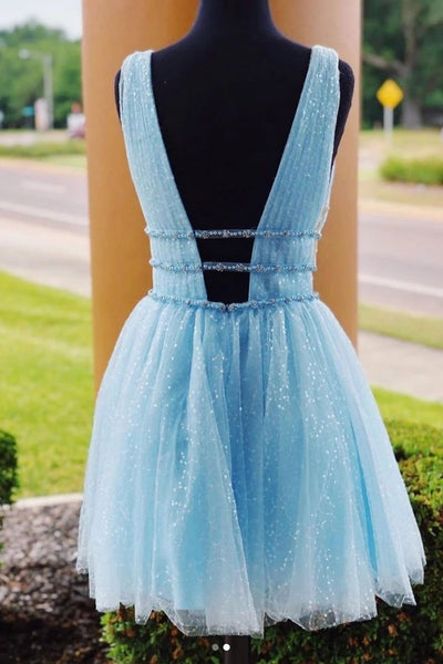 A-line Deep V-neck Beading Backless Tulle Short Homecoming Dress, HD0154