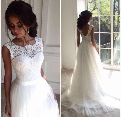 Round Neck V-neck Illusion Lace Tulle Lace Up Wedding Dresses, WD0214