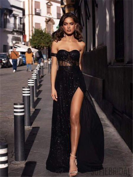 Sweetheart One-shoulder Sparkly Long Black Prom Dresses With Split, PD0113