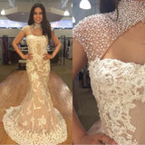 High Neck Pearl Beaded Ivory Lace Mermaid Prom Dresses, Elegant Prom Dresses ,PD0335