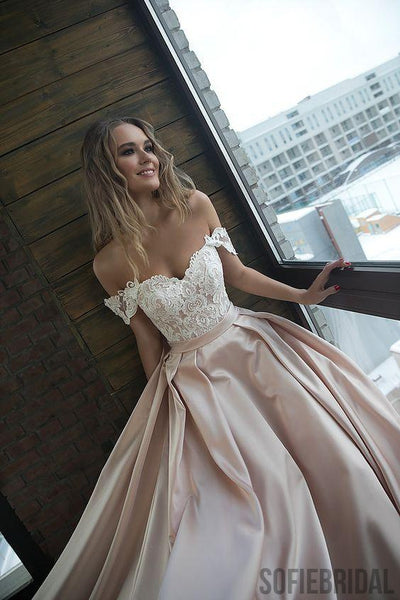 Off Shoulder Lace Top Long A-line Satin Prom Dresses, WD0276