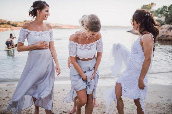 2 pieces Lace Top Short Sleeve Beach Wedding Bridesmaid Dresses, Affordable Bridesmaid Dress, PD0324