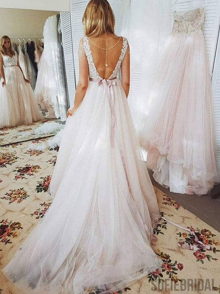 Sexy Backless Custom A-line Cheap Wedding Dresses Online, WD337