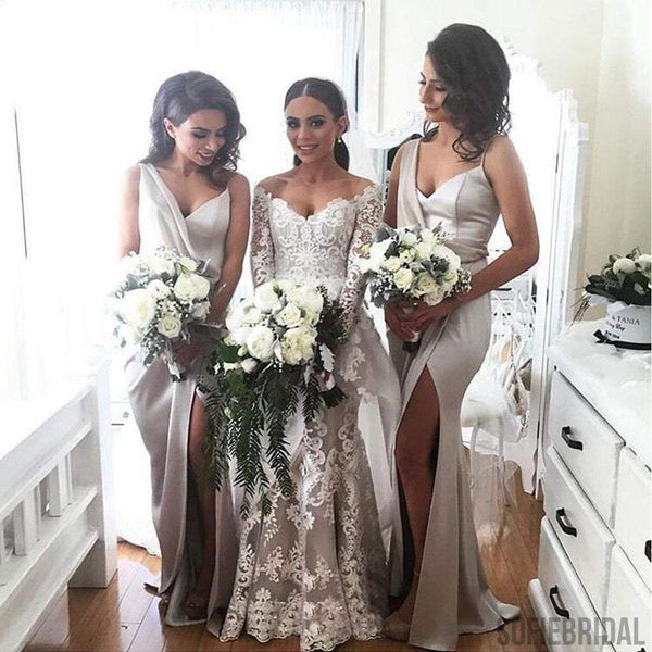 Newest Design Long Side Slit Soft Satin Special Bridesmaid Dresses, PD0299