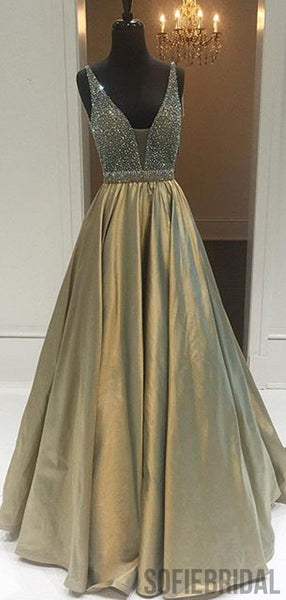 V-neck Beaded Long A-line Prom Dresses, Newest Prom Dresses, PD0816